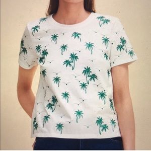 Maje Metallic Embroidered Palm Tree Print Tee 1/XS